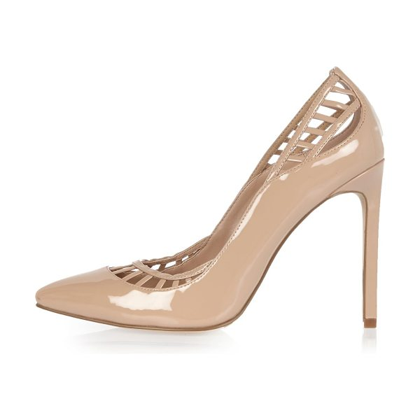 River Island nude patent lattice panel court heels in nude - Patent Lattice panel Pointed toe 11.5cm heel