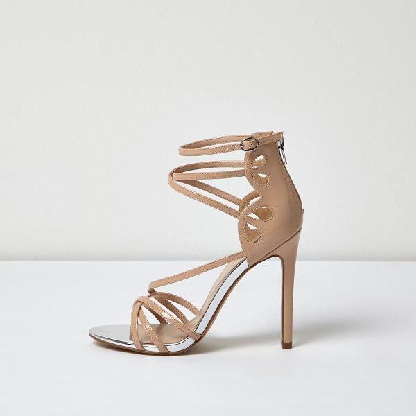 River Island nude patent strappy heels in nude - Patent upper Caged design Zip back fastening Skinny heel...