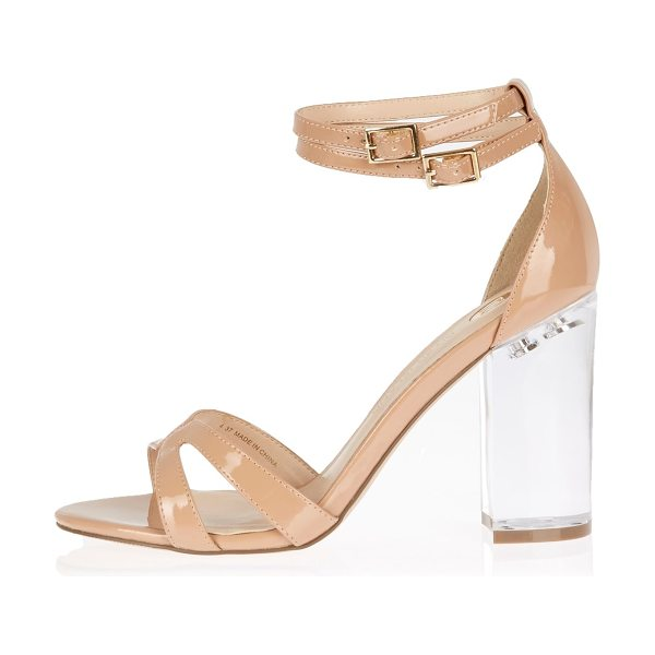 River Island nude perspex heel sandals in nude - Patent upper Cross-strap front Double buckle ankle...