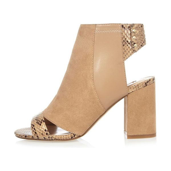 River Island nude print panel shoe boots in nude - Faux suede upper Snake print panel Peep toe and open...