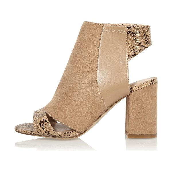 River Island nude print panel wide fit shoe boots in nude - Faux suede upper Snake print panel Peep toe and open...