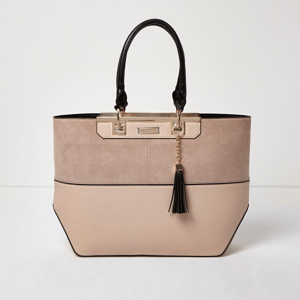River Island nude split panel tote bag in nude - Horizontal panelling with black piping Rose gold tone...