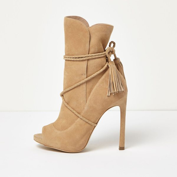 RIVER ISLAND nude suede wrap around peep toe boots - Suede upper Peep toe Stitch detail Tie around strap with...