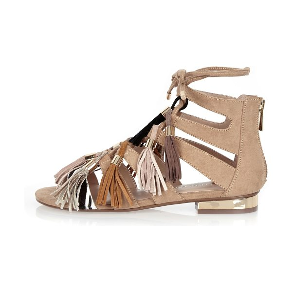 River Island nude tassel gladiator sandals in nude - Strappy gladiator design Contrast zebra strap Lace-up...