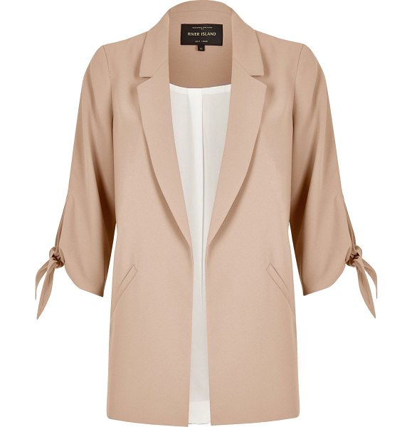 River Island nude tied cuff open blazer in nude - Premium woven fabric Sleek, slim lapels Mid sleeves with...