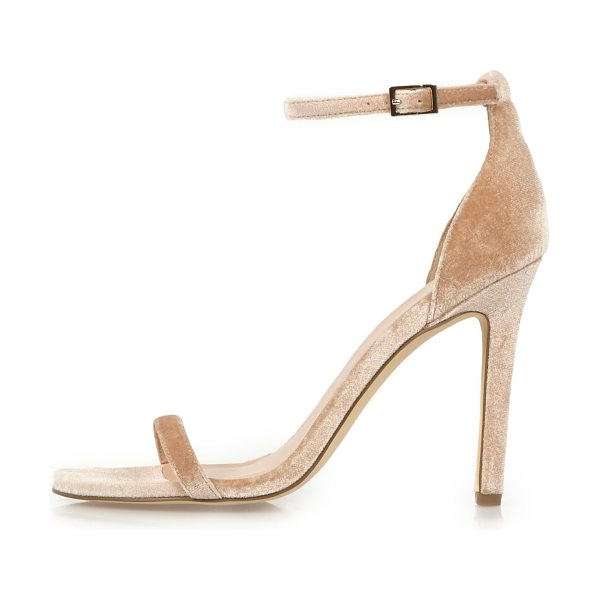 River Island nude velvet barely there heeled sandals in nude - Velvet upper Two strap design Buckle ankle strap Heel height 10cm