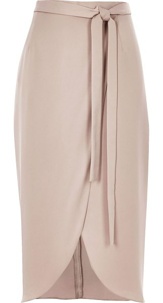 River Island nude wrap midi skirt in nude - Soft woven fabric Wrap design Tied waist Midi length