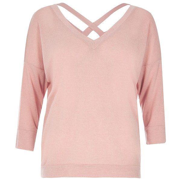 RIVER ISLAND pastel pink knitted cross back sweater - Knitted Relaxed fit V-neck Long sleeves Open V-back with...