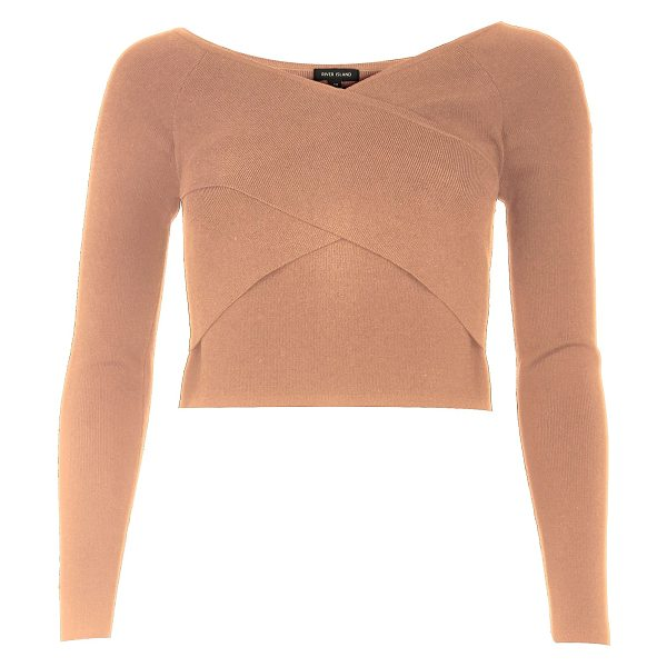 River Island nude bardot wrap crop top in nude - Stretch-to-fit knit Shoulder skimming bardot neckline...