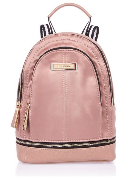 River Island blush pink mini nylon backpack in pink - Nylon fabric Zip compartment Gold tone detail Top handle...