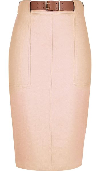 River Island pink buckle pencil skirt in pink - Woven Fitted High waisted Buckle belt waist