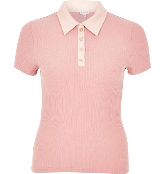 RIVER ISLAND pink contrast collar polo shirt - Ribbed jersey Contrast collar and placket Button-up...