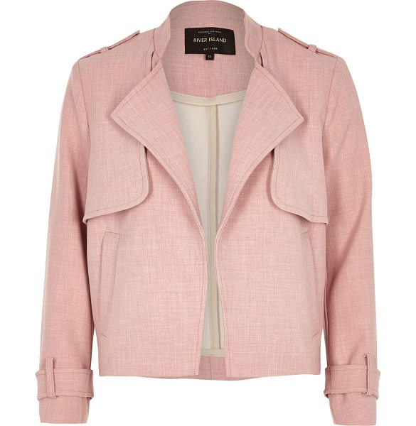 River Island pink cropped trench jacket in pink - Bonded woven fabric Unfastened front Long sleeves...