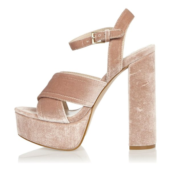 River Island pink cross strappy platform heels in pink