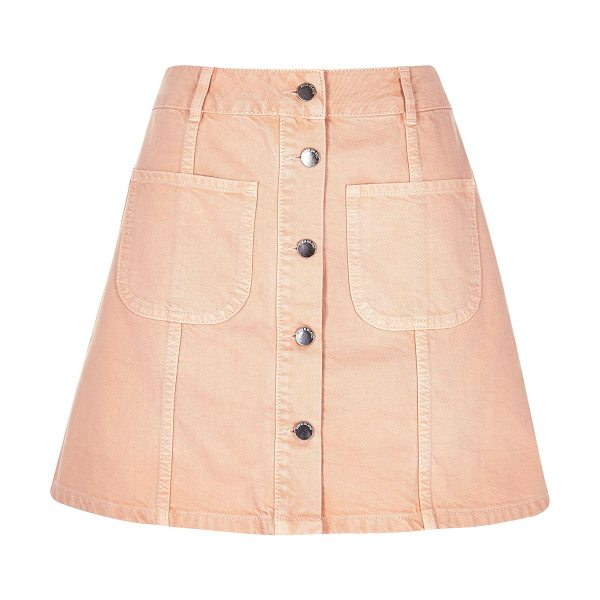 River Island pink denim button-up a-line skirt in pink - Pink denim A-line shape Button-up front Two patch...