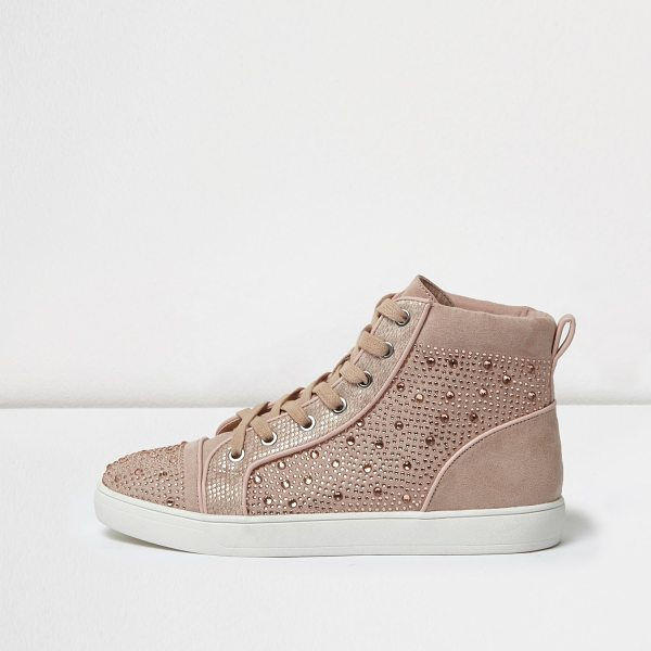 RIVER ISLAND pink diamanté panel hi tops - Faux suede upper Diamanté panelling Cushioned ankle...