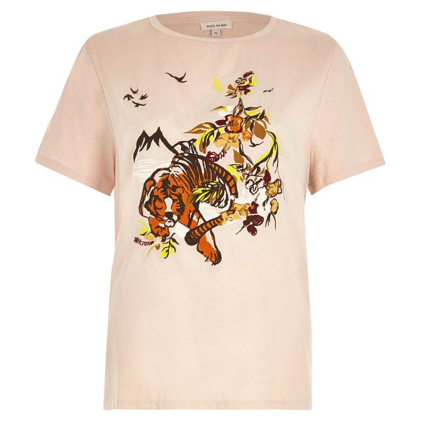River Island pink embroidered tiger t-shirt in pink - Satin front fabric Embroidered detail Regular fit Crew...
