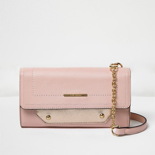 River Island pink foldover cross body bag in pink - Leather look foldover flap Contrast white side detail...
