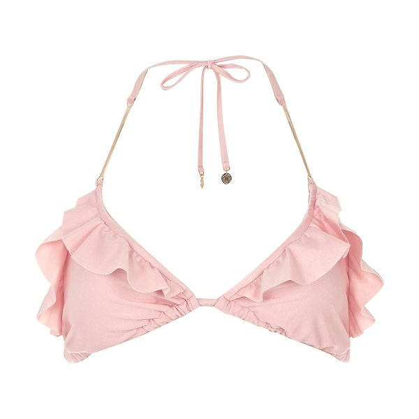 River Island pink frilly triangle bikini top in pink - Soft triangle Frilly trim Halter neck Tie fastening