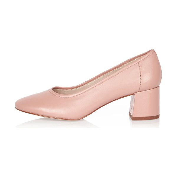 River Island pink leather block heel glove shoes in pink - Leather upper Round toe Block heel Heel height 5cm