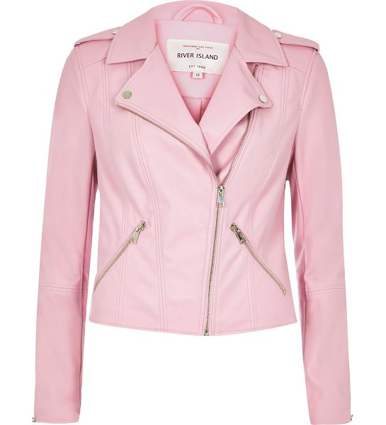 River Island pink leather look biker jacket in pink - Faux leather fabric Regular fit Asymmetric zip front...