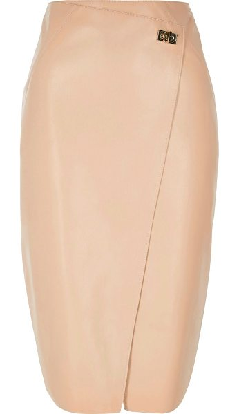 River Island pink leather look wrap pencil skirt in pink - Faux leather Wrap front Clasp fastening Midi length...