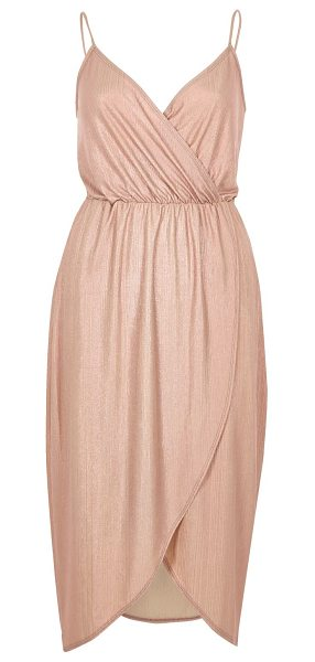 River Island pink metallic wrap slip dress in pink - Metallic ribbed fabric Wrap front Cami straps Cinched-in...