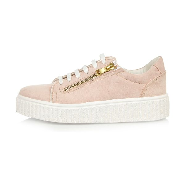 RIVER ISLAND pink platform sneakers - Faux suede upper Rounded toe Zip detail Lace-up...