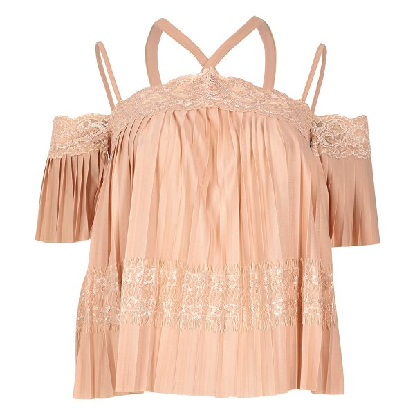 River Island pink lace pleated cold shoulder top in pink - Plissé with lace panels Multi strap cold shoulder detail...