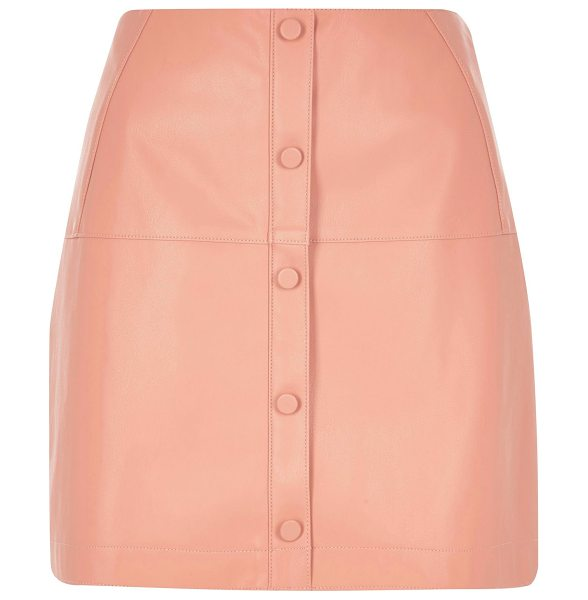 River Island pink pu button through skirt in pink - Leather-look A-line Panelled Fully lined Button fastening