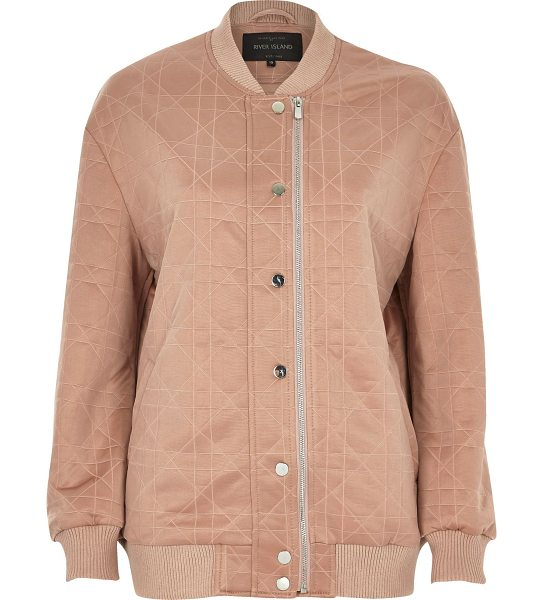 River Island pink quilted bomber jacket in pink - Soft quilted fabric Oversized fit Asymmetric zip and...