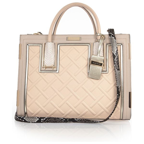 River Island nude raised cord tote bag in nude - Leather look Cord panel Snakeskin shoulder strap Zip top...