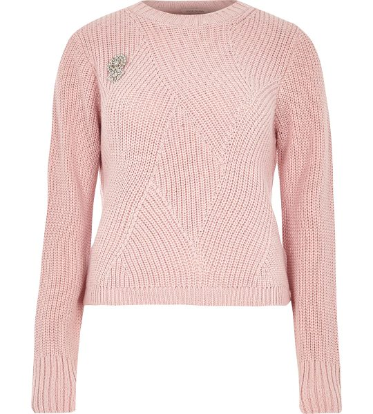 River Island pink ribbed knit sweater with brooch in pink - Mid weight knit Ribbed stitch detail Silver brooch...