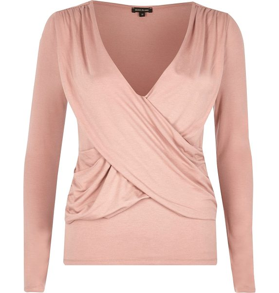River Island pink ruched wrap top in pink - Single jersey fabric Ruched wrap front Fitted top...