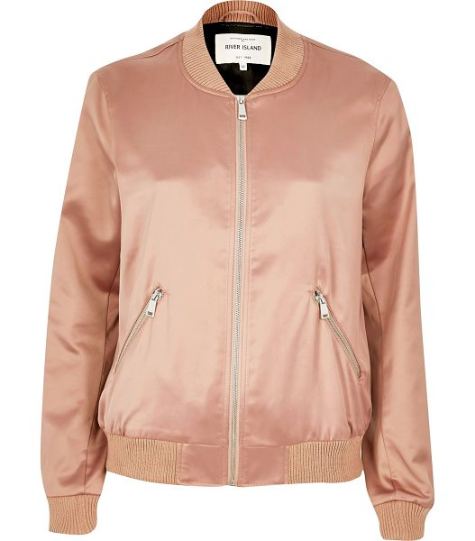 River Island pink satin bomber jacket in pink - Satin Tonal trims Regular fit Long sleeve Zip front Our...