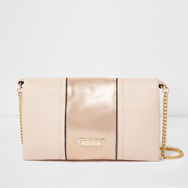 River Island nude soft foldover clutch bag in nude - Soft fabric with lamé panel Foldover design with black...