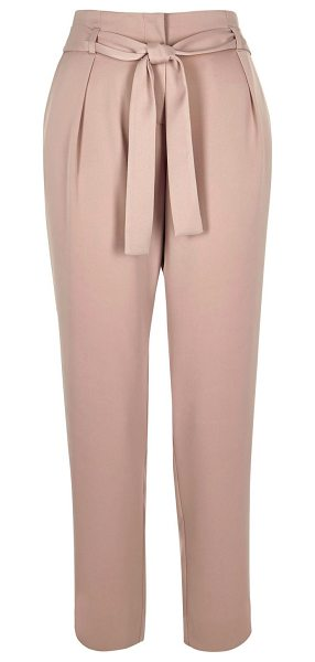 RIVER ISLAND pink soft tie tapered pants in pink - Woven fabric High waisted Tied waistbelt Tapered shape