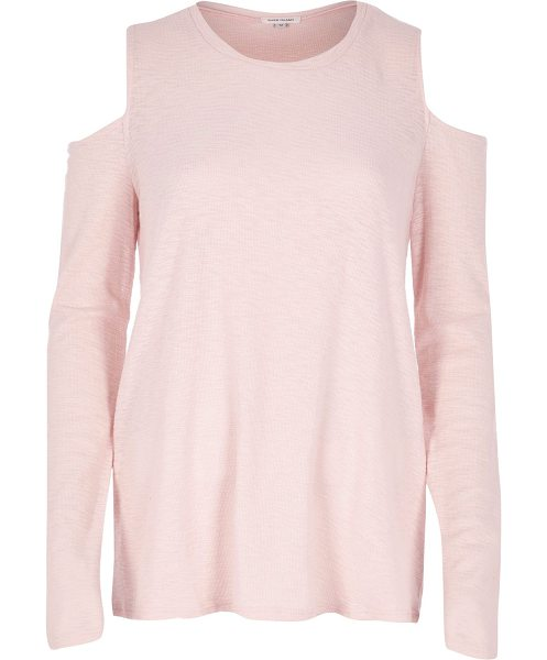 RIVER ISLAND pink space dye cold shoulder top - Space dye jersey Crew neck Long sleeve Cold shoulder