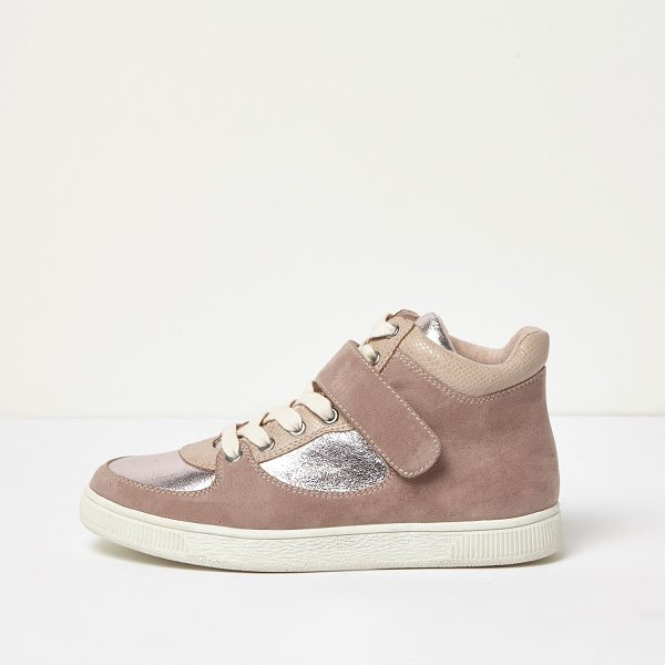 River Island pink wide fit textured panel hi tops in pink - Textile upper Contrast silver panelling Snake print...
