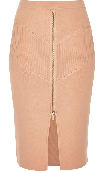 River Island pink zip stretch knit pencil skirt in pink - High shine knit fabric High-waisted b odycon fit Zip...