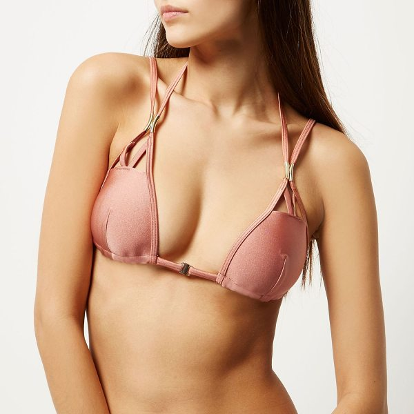 RIVER ISLAND ri resort brown strappy molded bikini top in brown - RI Resort collection Molded triangle cups Strappy detail...