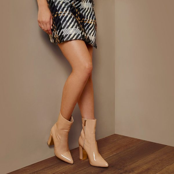 River Island ri studio nude patent ankle boots in nude - RI Studio Nude patent upper Pointed toe Block heel with...