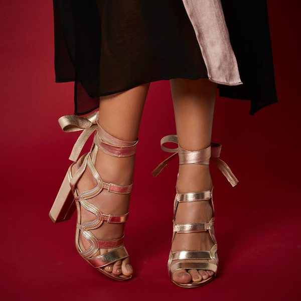 River Island ri studio rose gold leather caged heels in gold - RI Studio Metallic leather upper Caged design Tie-up...