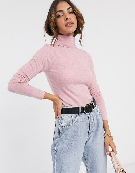 River Island roll neck sweater in pink in pink