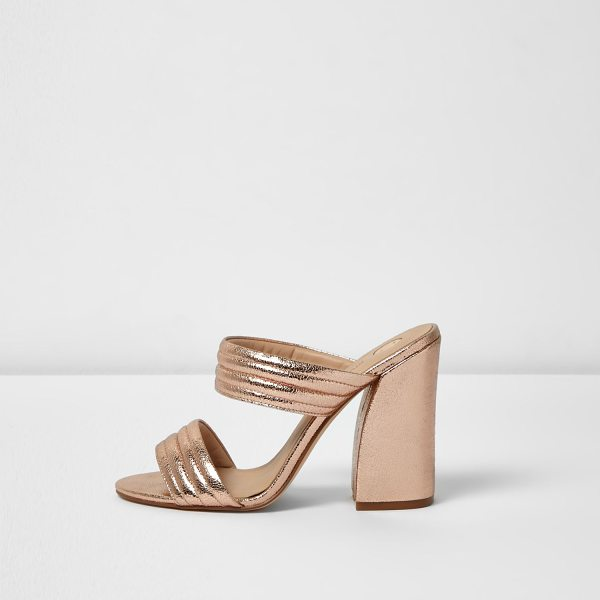 River Island rose gold tone strappy heeled mules in gold - Metallic rose gold tone Slip on mules Double strap...