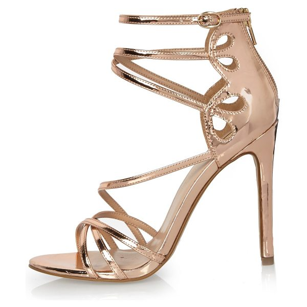 River Island rose gold tone strappy heels in gold - Rose gold tone upper Caged design Zip back fastening...