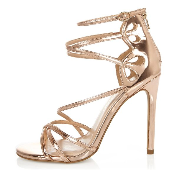 RIVER ISLAND rose gold tone wide fit strappy heels - Rose gold tone upper Caged design Back zip fasetning...