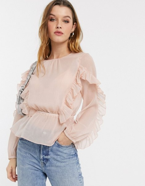River Island ruffle front blouse in pink in pink