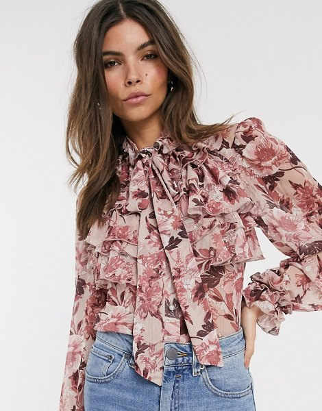 River Island ruffled blouse in pink floral print in pink