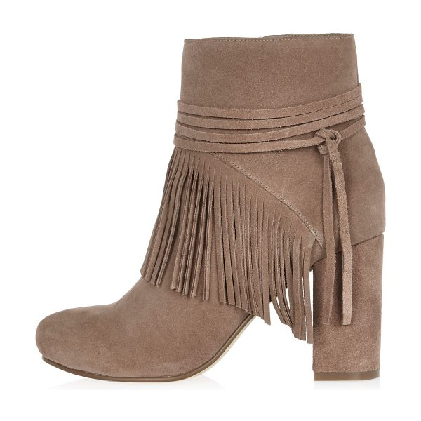 River Island sand brown suede fringed ankle boots in sand - Suede upper Rounded toe High ankle design Multiple...